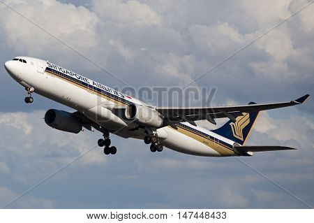 BRISBANE, AUSTRALIA - June 30: A Singapore Airlines Airbus A330 takes off from Brisbane Airport on Thursday, 30th June, 2016.
