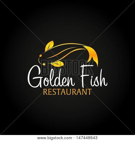 Golden Fish logo. Sea food logo. Bar, restaurant. Vector illustration.