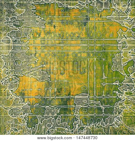 Vintage style shabby texture or background with classy grungy elements and different color patterns: yellow (beige); brown; gray; green; white