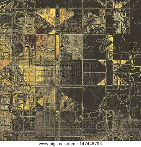 Geometric grunge vintage template or antique background with different color patterns: yellow (beige); brown; gray; black