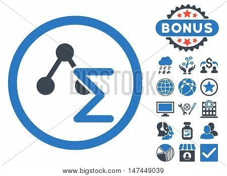 Chemical Formula icon with bonus design elements. Vector illustration style is flat iconic bicolor symbols, smooth blue colors, white background.
