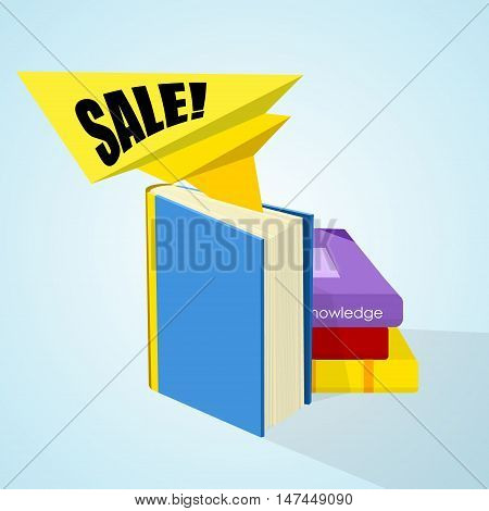stack of books with sticker sale on background. illustration. vector.