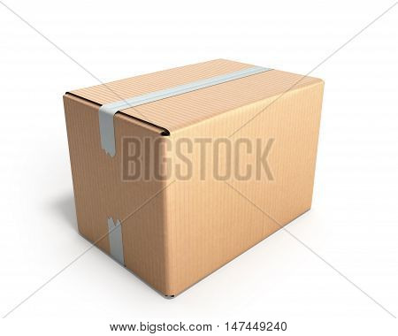 Clear Cardboard Box 3D Render On White