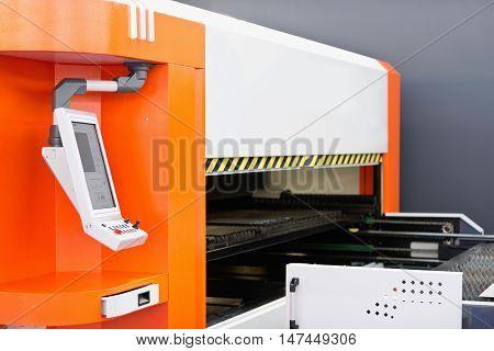 Precision fiber laser cutting machine, color image, close up