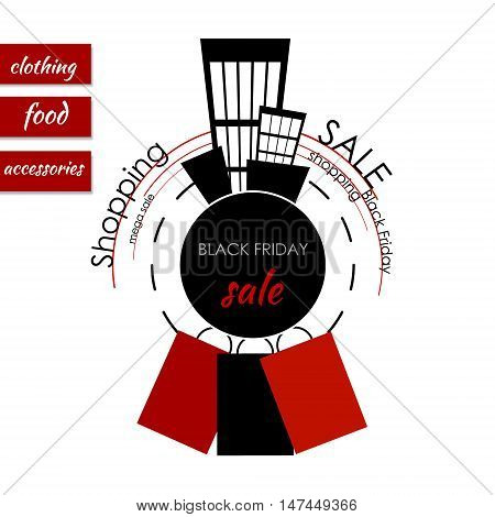 Sale banner with sticker on the redwhite background. Vector illustration. Black friday sale