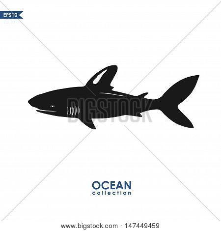 vector shark silhouette isolated on white, black and white shark illustration