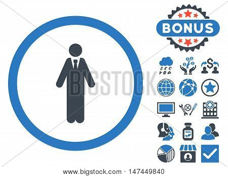 Clerk icon with bonus elements. Vector illustration style is flat iconic bicolor symbols, smooth blue colors, white background.