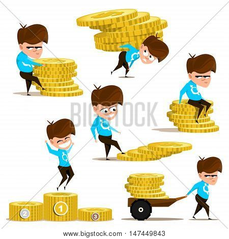 Images of boy with coins. People and money. Vector illustration