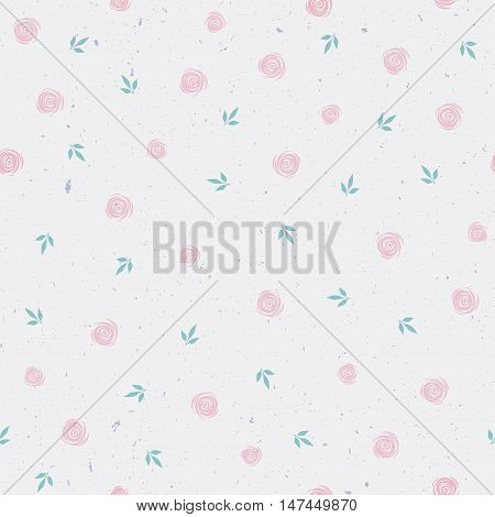 vector seamless pattern with roses, pale pattern with small pink roses, vintage style