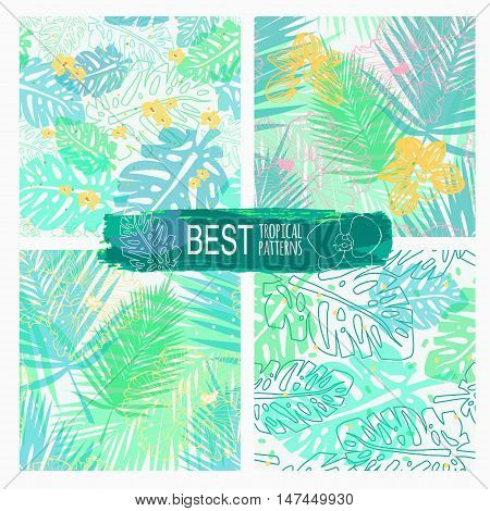 four vector seamless pattern with Hawaiian motifs, light tropical floral patterns