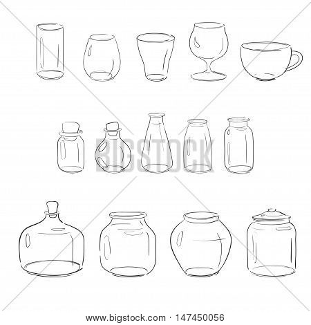 set of different glass objects: jars, vases bottles