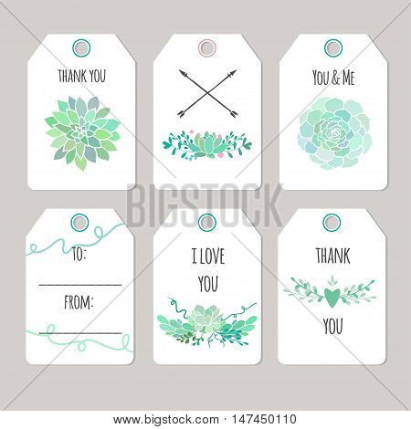 set of vector printable gift tags and cards with succulents