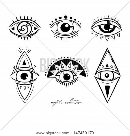 esoteric symbols with eyes, vector mysterious signs with eyes, vector illustration, boho style decorative elements isolated on white