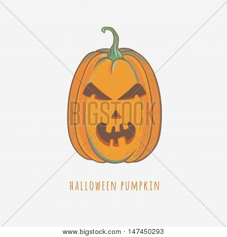 angry halloween pumpkin, funny carved pumpkin, vector illustration of halloween pumpkin isolated on white, cartoon doodle style