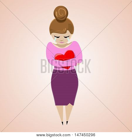 Crying girl with heart. Flat illustration. Vector