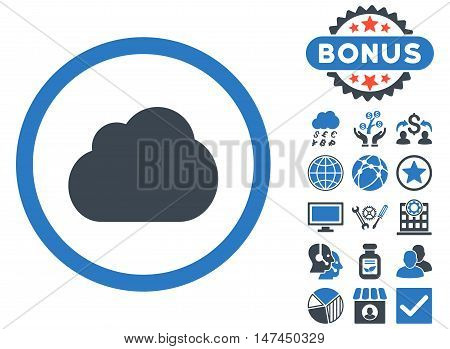 Cloud icon with bonus elements. Vector illustration style is flat iconic bicolor symbols, smooth blue colors, white background.