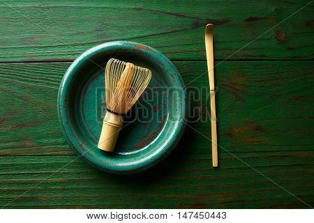 Matcha tea bamboo whisk chasen and spoon for japanese ceremony