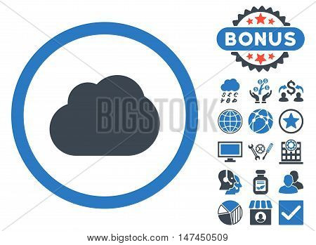 Cloud icon with bonus design elements. Vector illustration style is flat iconic bicolor symbols, smooth blue colors, white background.