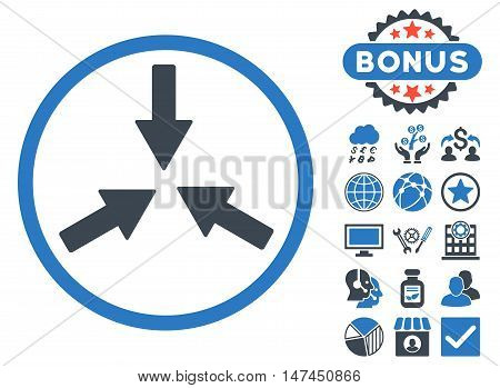 Collide Arrows icon with bonus design elements. Vector illustration style is flat iconic bicolor symbols, smooth blue colors, white background.