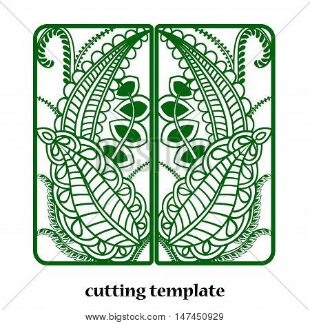 Laser Cut Invitation Card. Laser cutting pattern for invitation wedding card with floral leaves ornament.