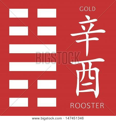 Symbol of i ching hexagram from chinese hieroglyphs. Translation of 12 zodiac feng shui signs hieroglyphs- gold and rooster.
