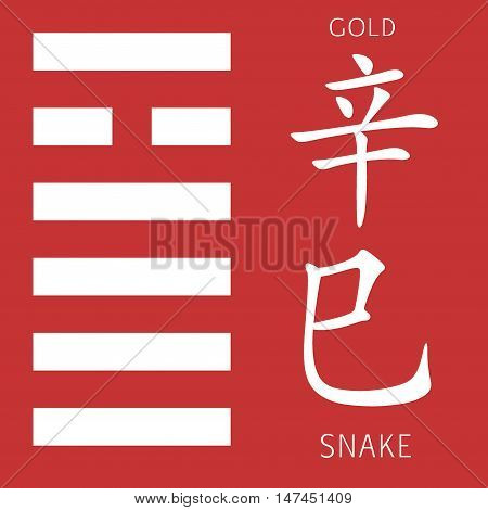 Symbol of i ching hexagram from chinese hieroglyphs. Translation of 12 zodiac feng shui signs hieroglyphs- gold and snake.