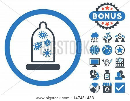 Condom Microbes icon with bonus design elements. Vector illustration style is flat iconic bicolor symbols, smooth blue colors, white background.