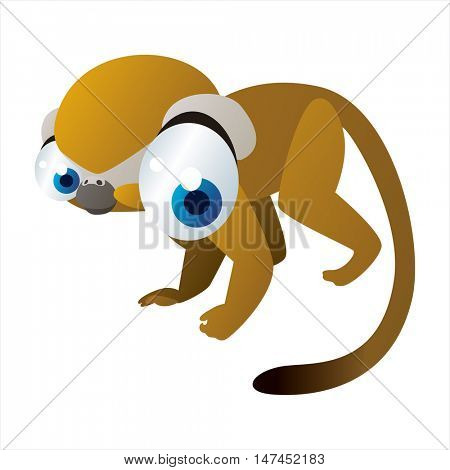 vector cartoon cute animal mascot. Funny colorful cool illustration of happy Monkey