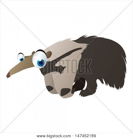 vector cartoon cute animal mascot. Funny colorful cool illustration of happy Anteater