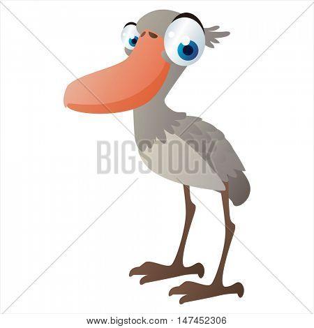 vector cartoon cute animal mascot. Funny colorful cool illustration of happy Shoebill