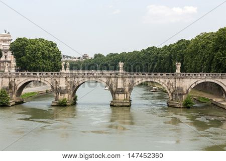 ROME, ITALY - JUNE 12, 2015: The Bridge of Sant Angelo in Rome Italy
