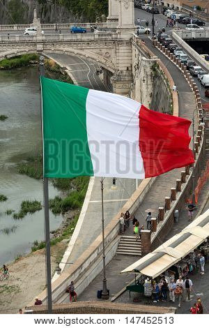 ROME, ITALY - JUNE 12, 2015: Angelo Castle in Rome with Italian flag