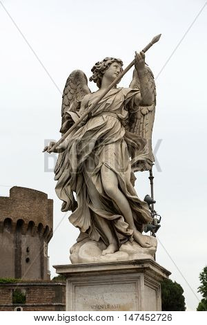 Marble statue of Angel with the Lance by Domenico Guidi from the Sant'Angelo Bridge in Rome Italy