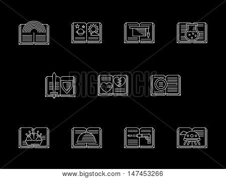 Signs of books for everyone. Literature genres theme. Romance, detective, educational literary, fantasy and others. Symbols set for bookstore. Flat white line vector icons collection on black.