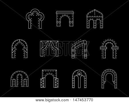 Set of architecture arch types. Brick and stone archway constructions. Elements of facades, entrance, historical buildings. Flat white line vector icons collection on black.