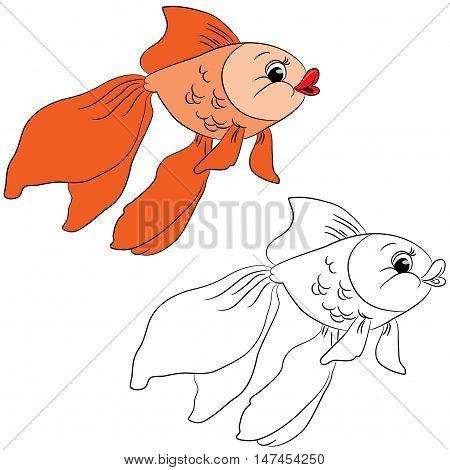 Coloring book. Cute cartoon goldfish. Vector illustration