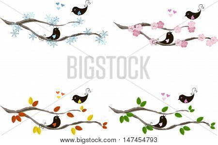 Cute lovebirds on branches, hearts, for seasons, colorful vector illustration