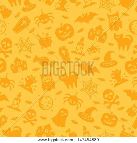 Halloween seamless pattern with icons and signs