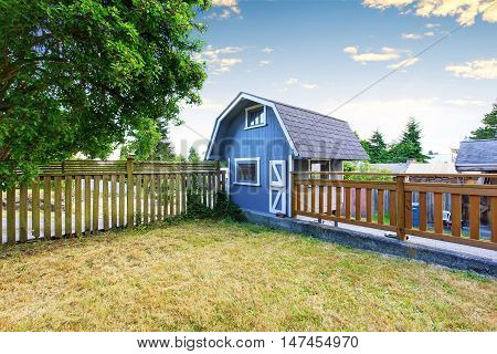 Home Garden On Backyard With Small Blue Barn Shed And Wooden Fence