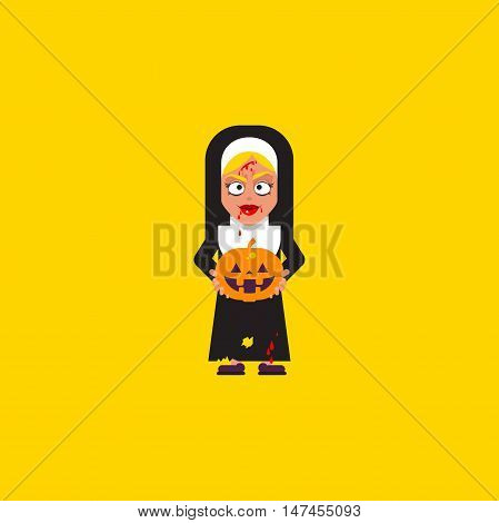 Stock vector illustration a bloody nun with pumpkin character for halloween in a flat style