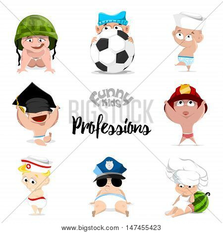 children. professions set. nurse, policeman, fireman, footballer, chef, sailor, graduate
