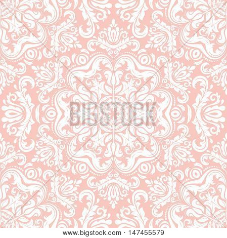 Seamless baroque vector light pink pattern. Traditional classic orient ornament