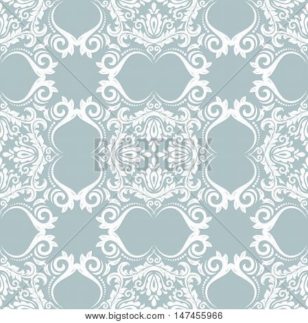 Seamless baroque vector blue and white pattern. Traditional classic orient ornament