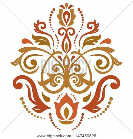 Oriental vector colorful pattern with arabesques and floral elements. Traditional classic ornament