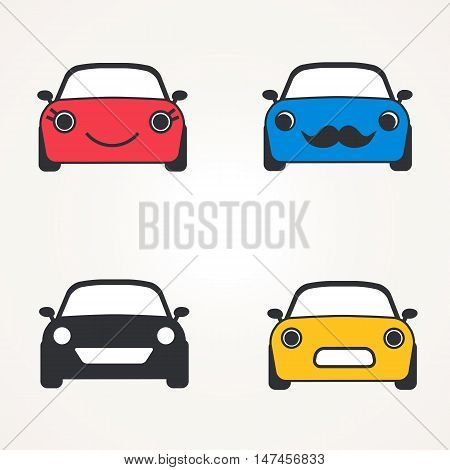 Cute cars icons ( sign ) front view set. Vector illustration. Symbols of car's front side against white background automobile silhouette.