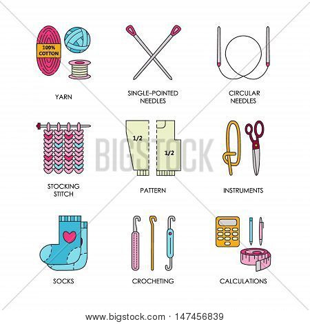 Knitting. Modern vector line icons set of knitting and crochet. Knitting elements: yarn knitting needle knitting hook pin and others. Outline knitting symbol collection invitations notes messages