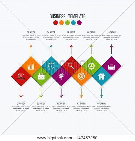 Vector infographic design 10 options. Stock illustration