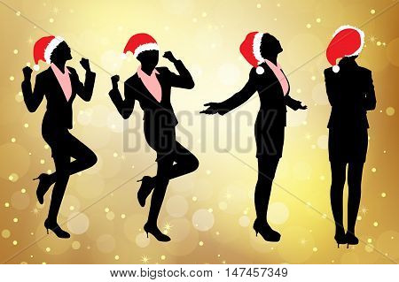 Silhouettes of excited christmas business woman with golden background