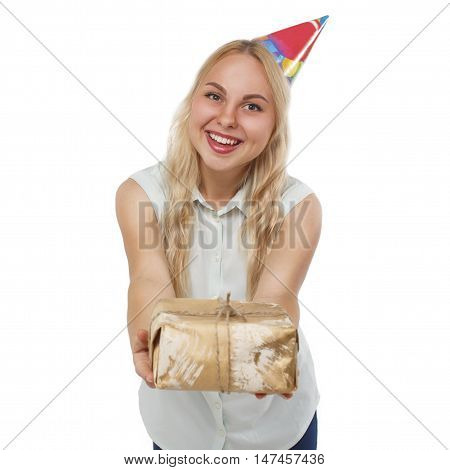 happy girl presenting birthday gift. pretty blonde with a gift at the party's birthday. isolated on white background