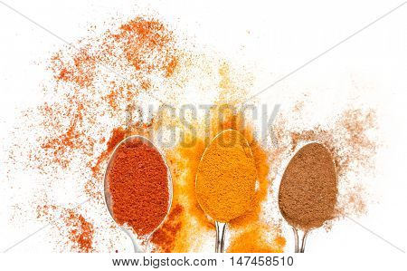 Different spices in spoons on white background